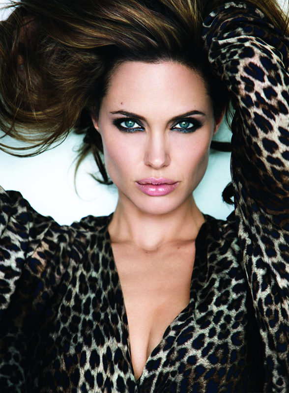 Angelina Jolie wearing a leopard-print top