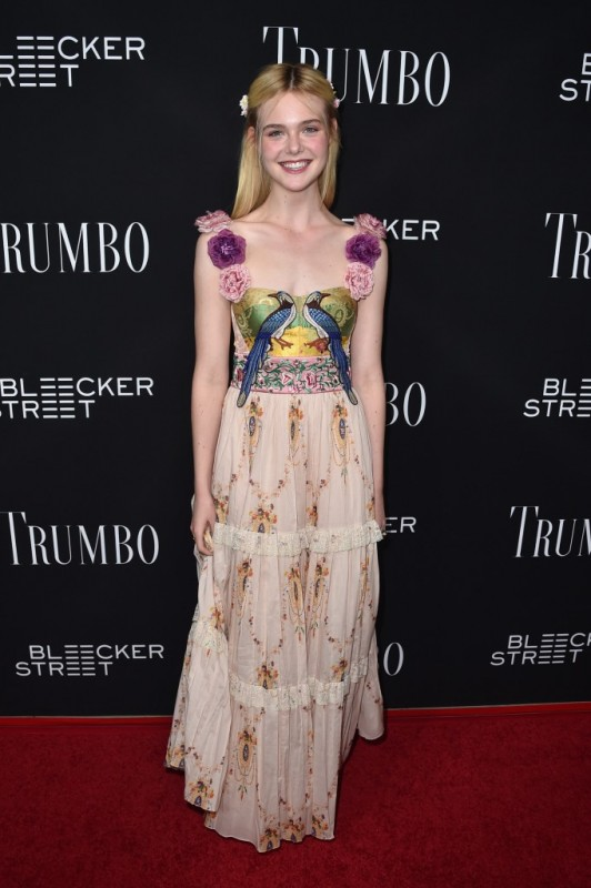 Elle Fanning Gucci tiered maxi dress