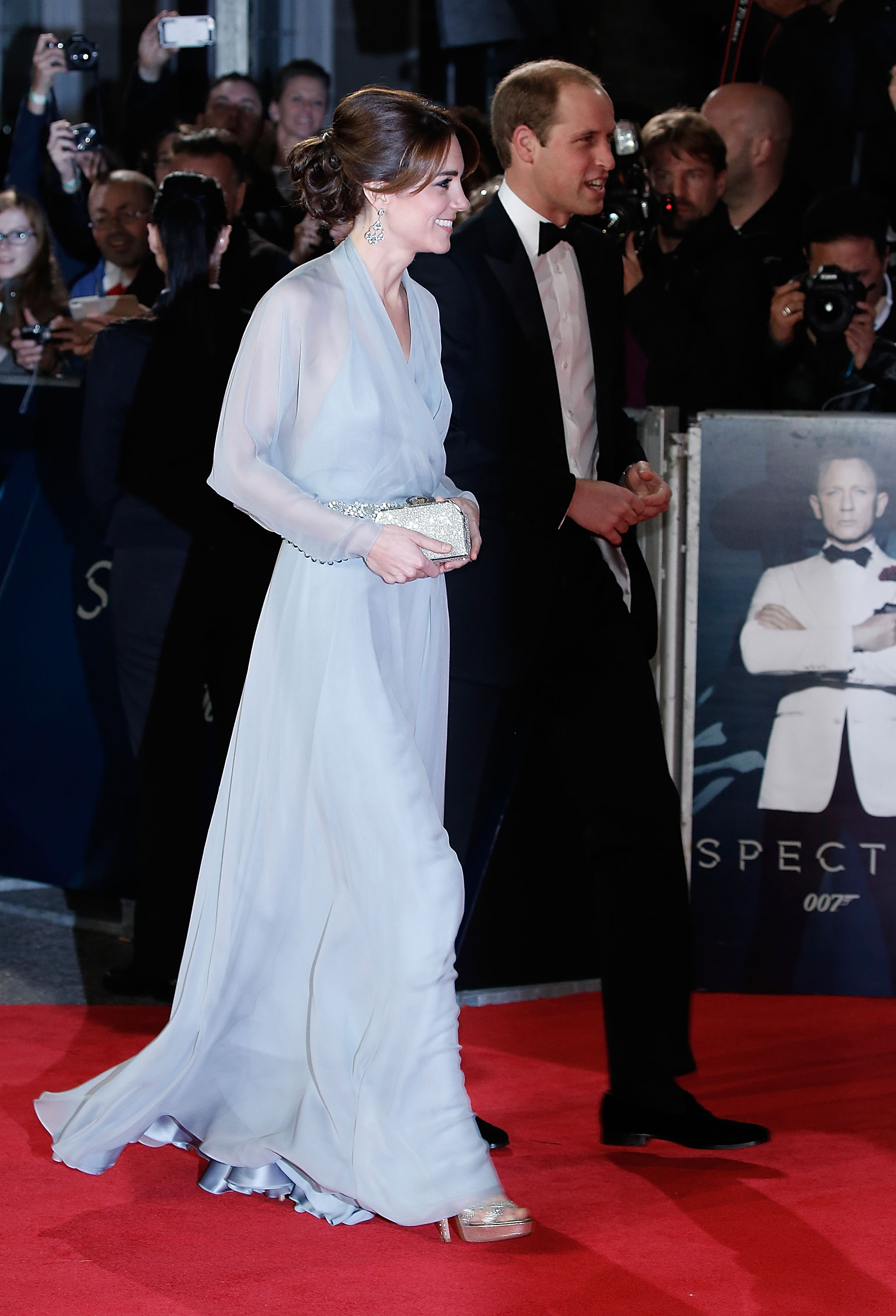 Kate Middleton in a blue Jenny Packham gown at the Spectre premiere