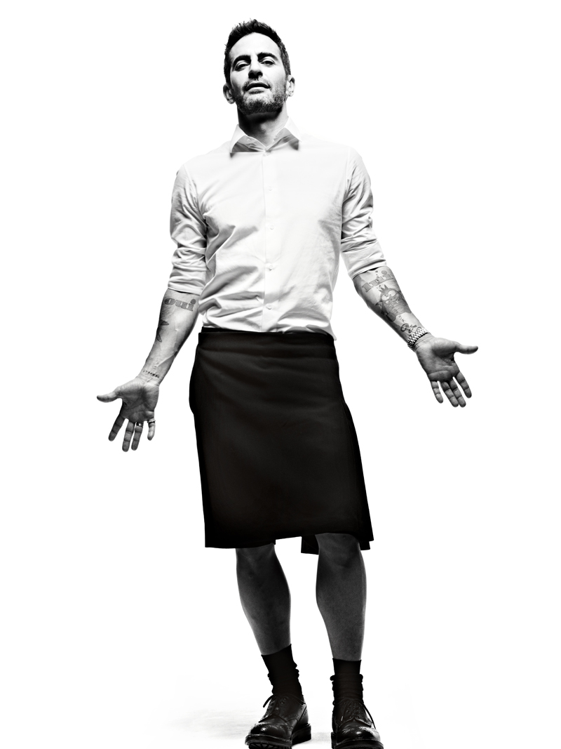 Marc Jacobs headshot wearing a skirt