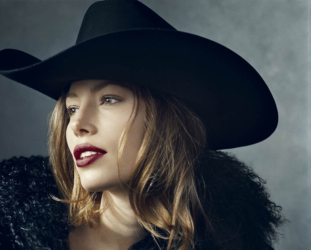 Jessica Biel wearing a black cowboy hat