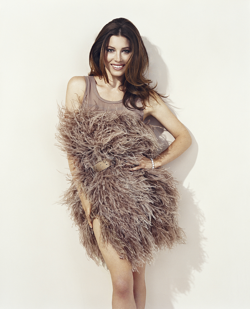 Jessica Biel wearing a feathered mini dress