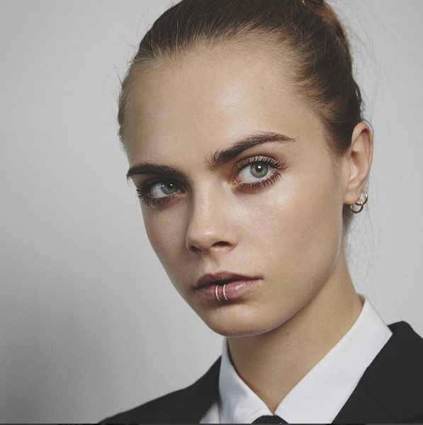 Cara Delevingne Wearing Established Jewelry Lip Ring