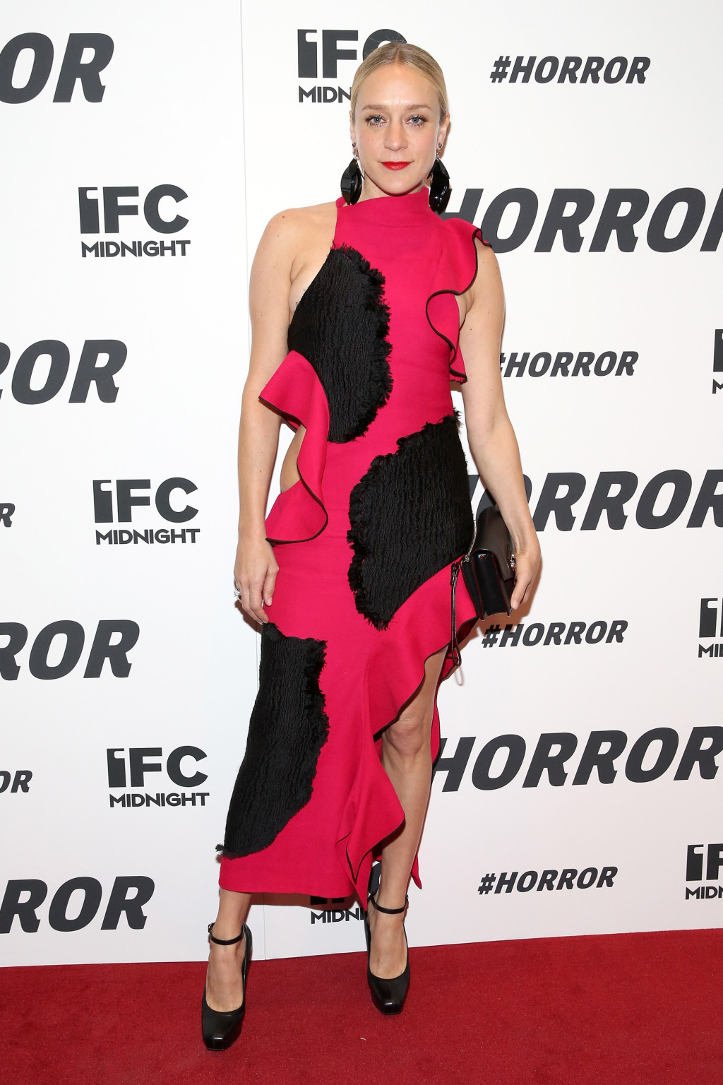 Chloe Sevigny in a red ruffled Proenza Schouler dress