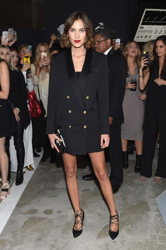 Alexa Chung red carpet Balmain x H&M oversized blazer and lace-up pumps