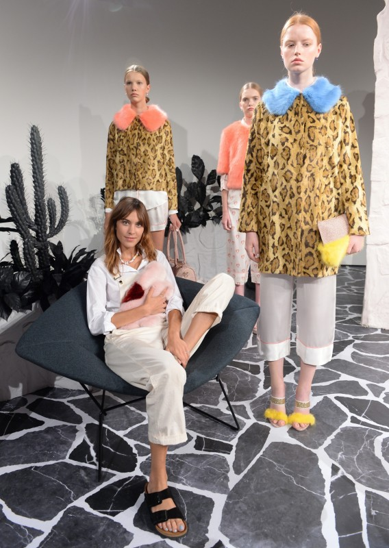 Alexa Chung white overalls and Birkenstock at Shrimps Spring Summer 2016 Presentation London Fashion Week