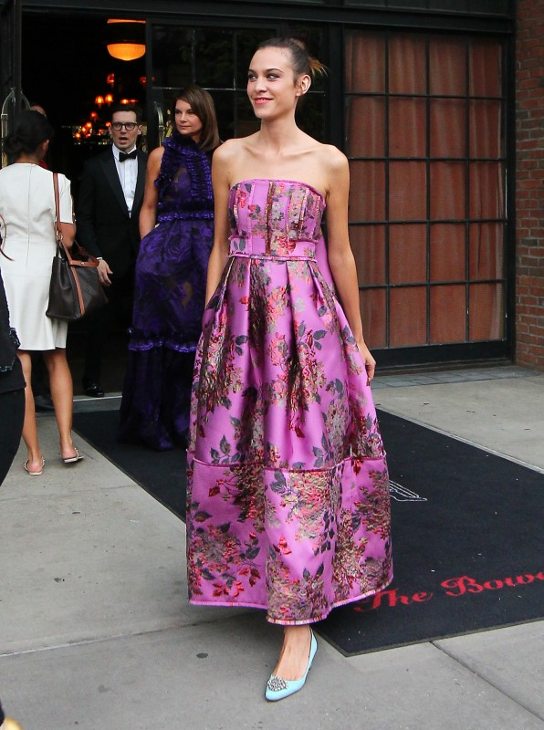 Alexa Chung red carpet pink Erdem gown and pastel flats at Met Gala