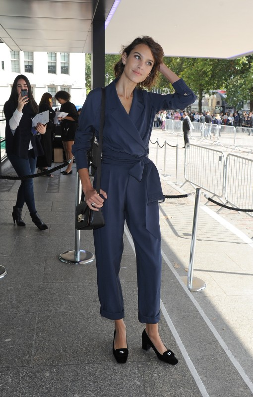 Alexa Chung blue jumpsuit at Topshop Unique London Fashion Week Spring Summer 2016