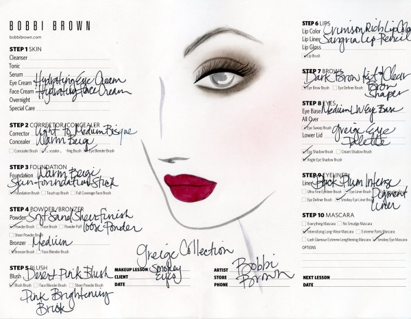 Bobbi Brown Greige Collection Face Chart