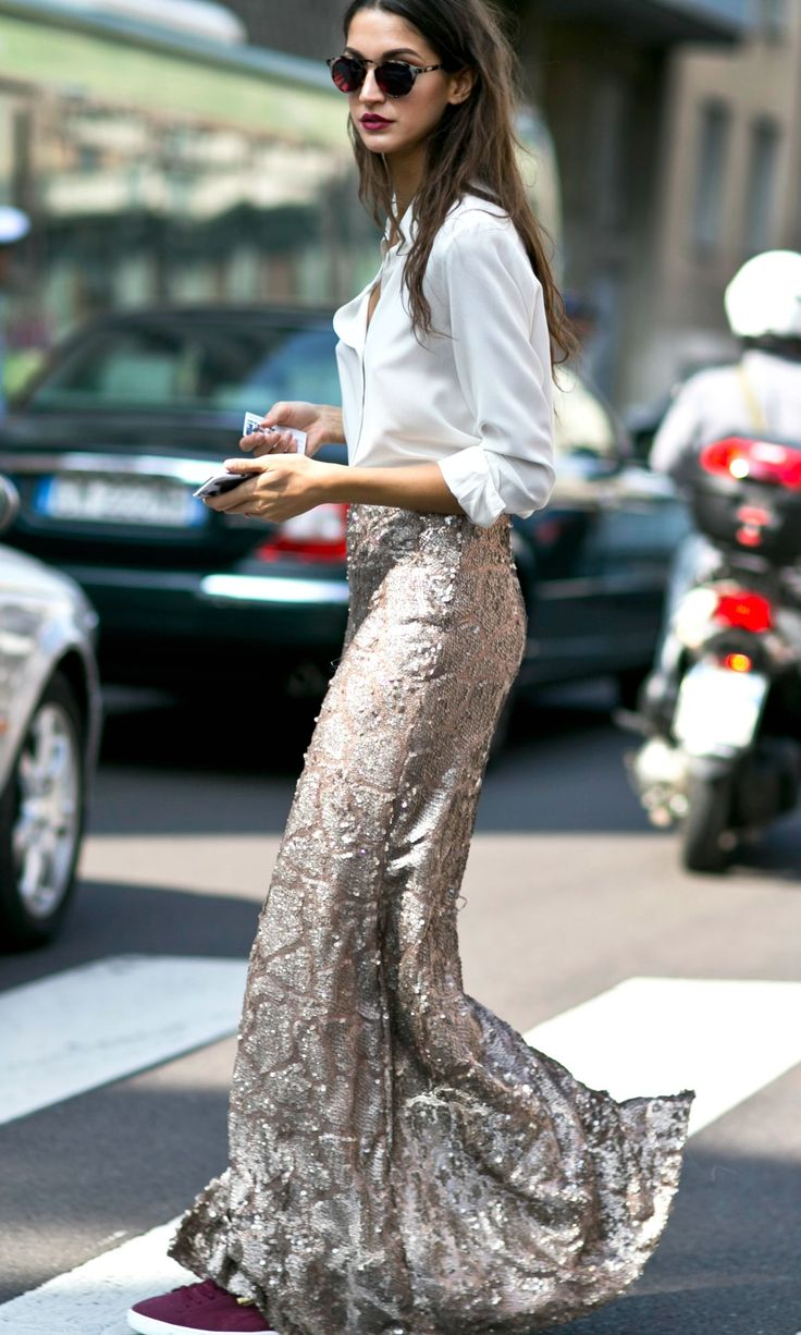 Here's How to Wear a Sequined Skirt to the Office