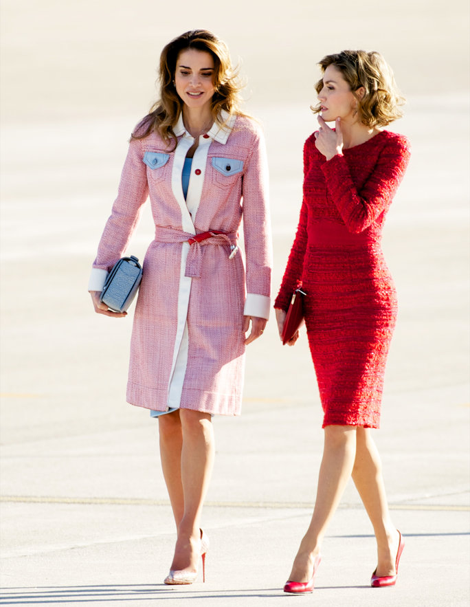Queen Letizia and Queen Rania at Madrid Airport
