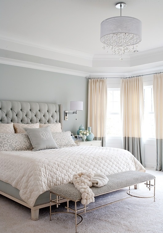 beautiful luxurious bedroom pastel blue