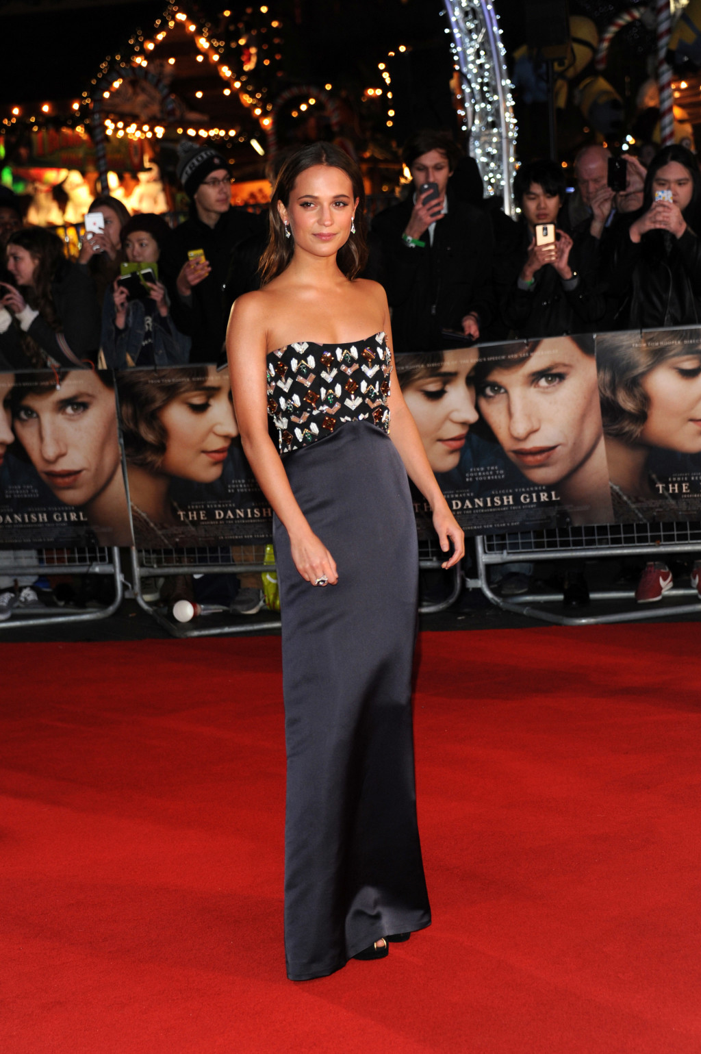 Alicia Vikander wearing an embellished Louis Vuitton column gown at the The Danish Girl premiere