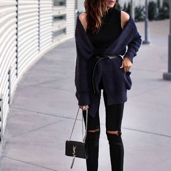 Instagram belt over cardigan style