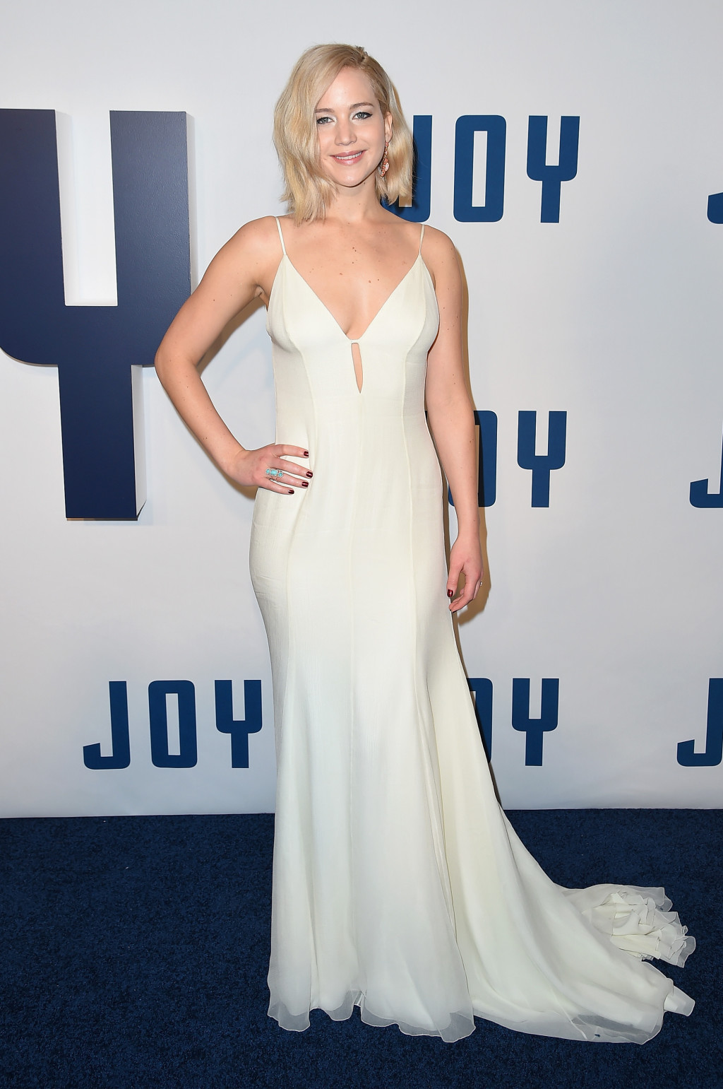Jennifer Lawrence wearing a white Dior Couture gown at the 'Joy' premiere