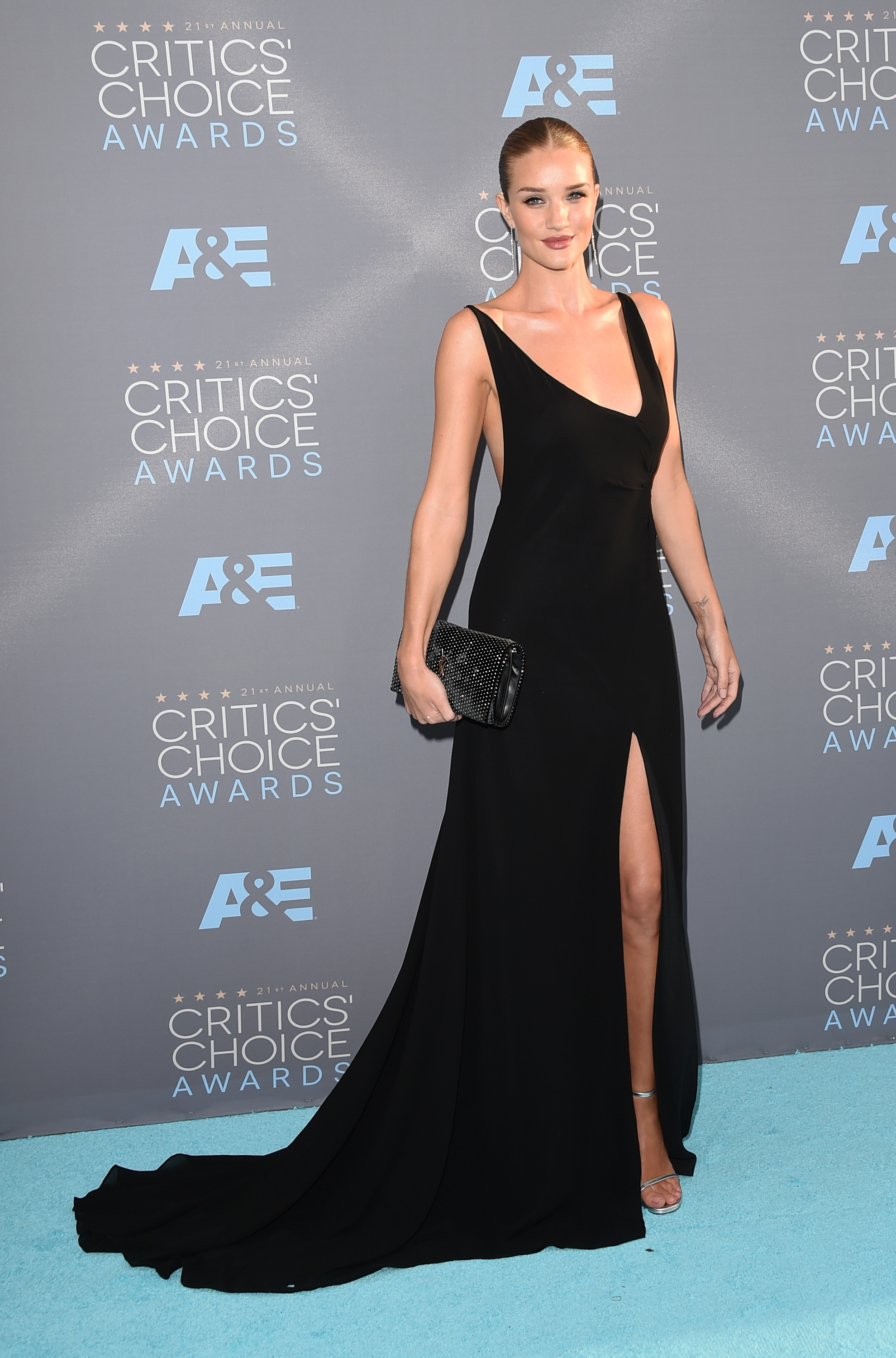 Rosie Huntington-Whiteley black Saint Laurent gown 2016 Critics' Choice Awards