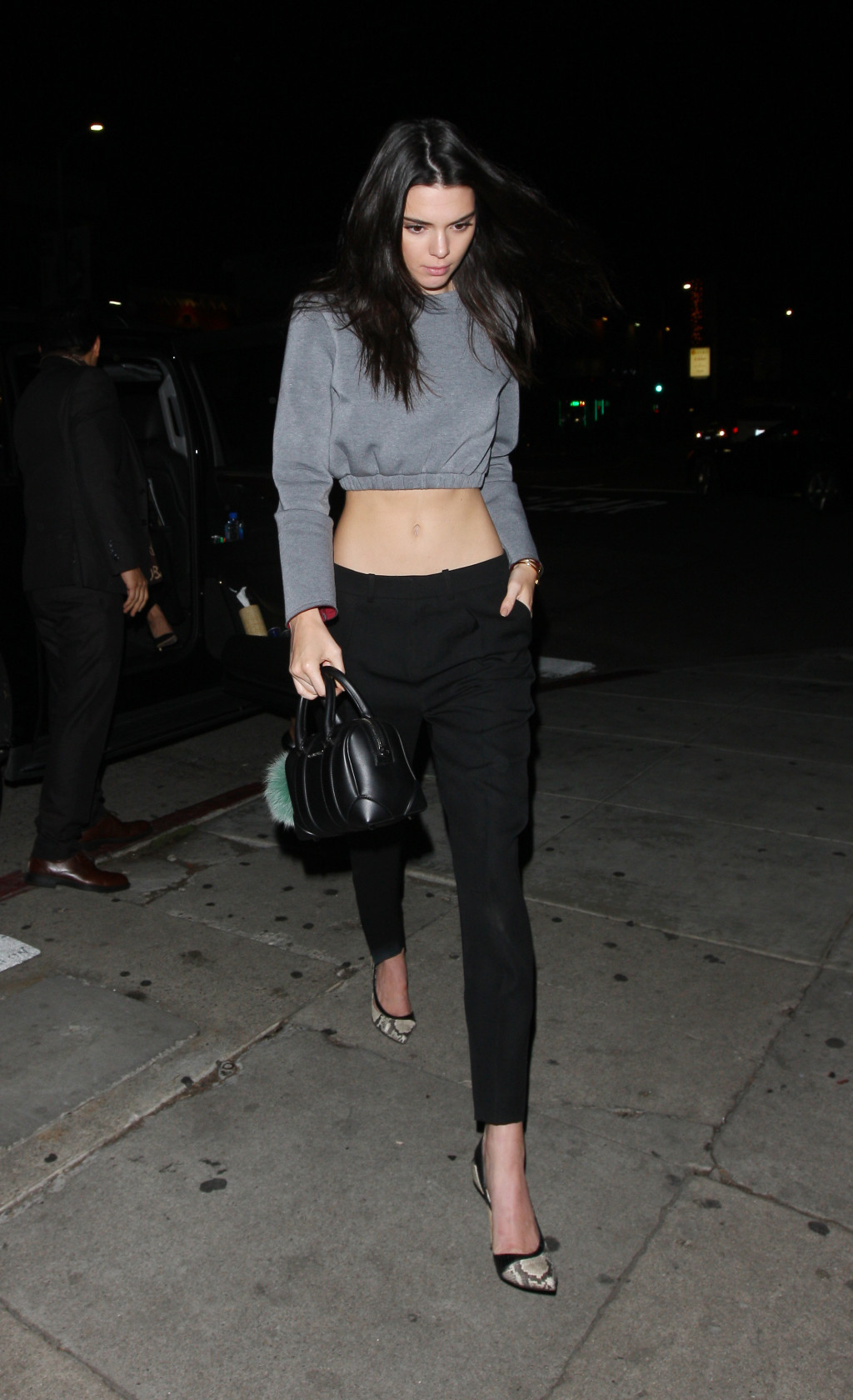Kendall Jenner gray longsleeved crop top black skinny trousers pointed pumps