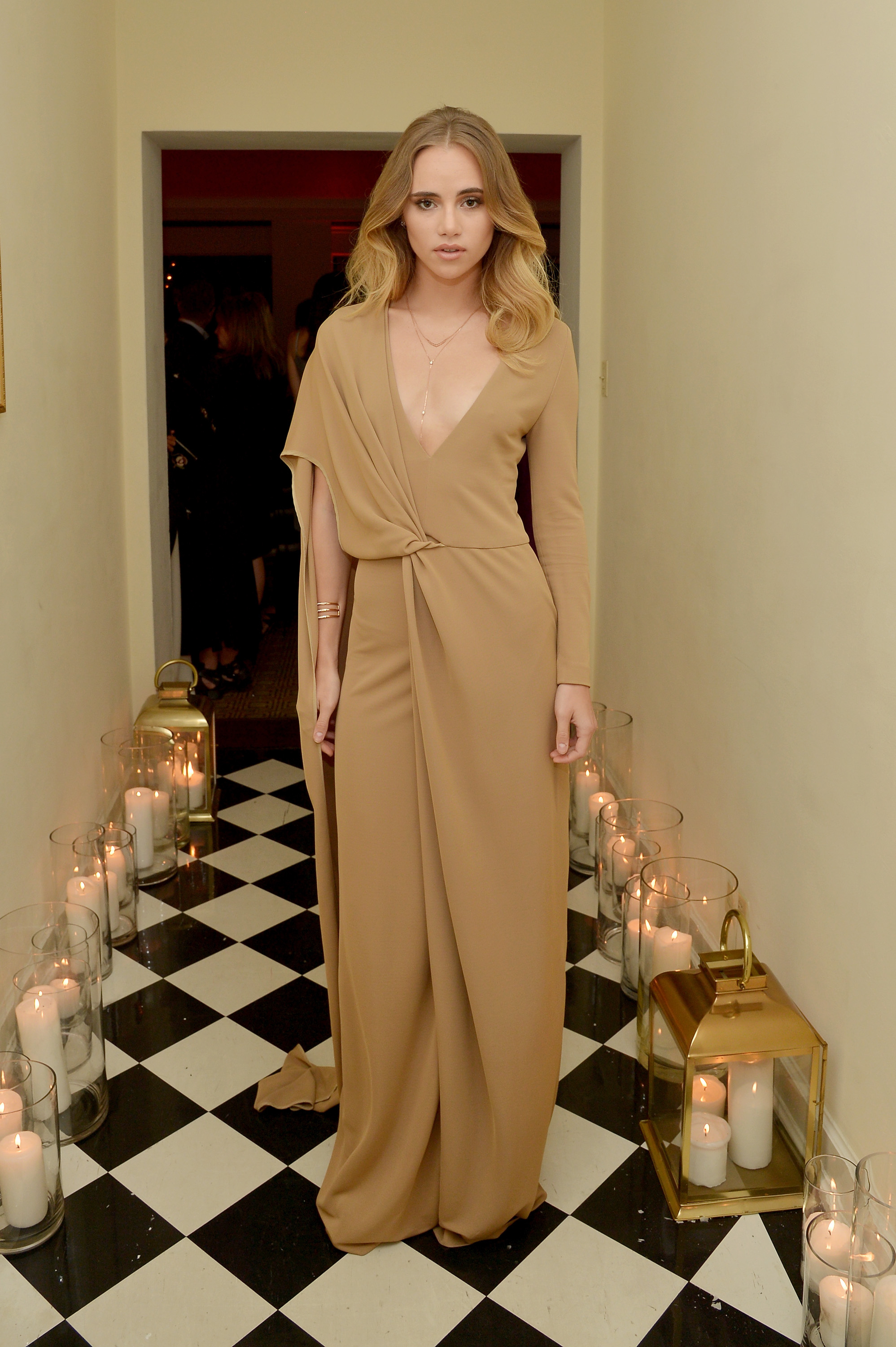 Suki Waterhouse camel draped Rosetta Getty gown at the Image Maker Awards
