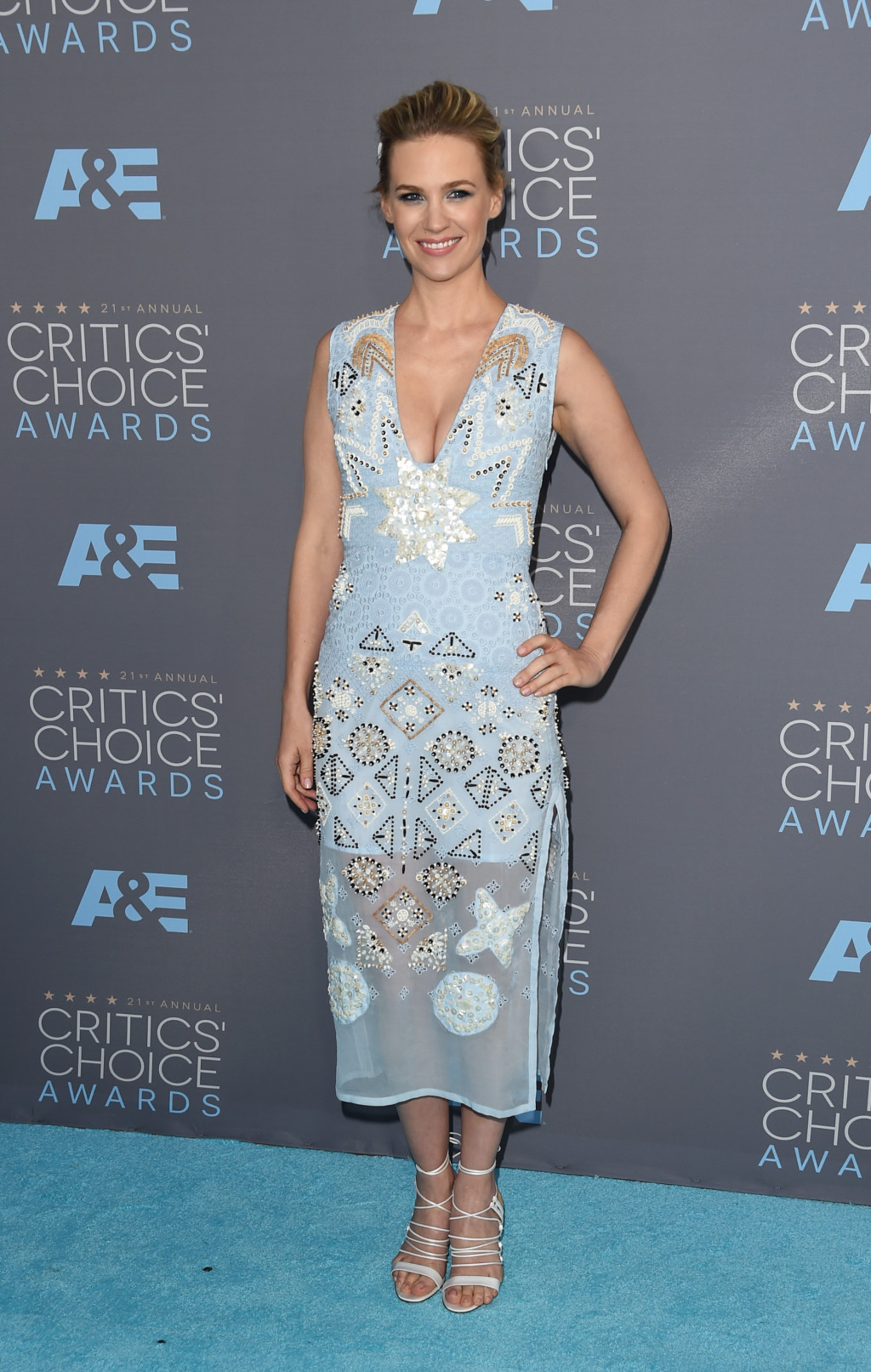 January Jones pastel blue embellished Altuzarra dress at the 2016 Critics' Choice Awards