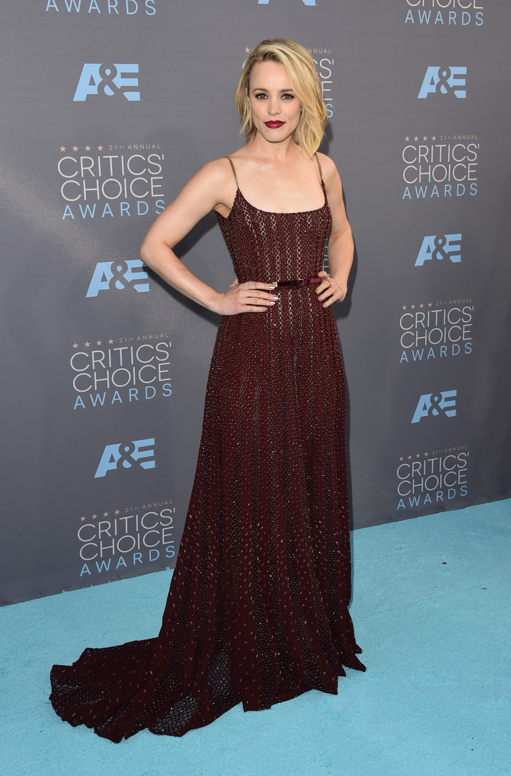 Rachel McAdams oxblood Elie Saab Couture gown 2016 Critics' Choice Awards