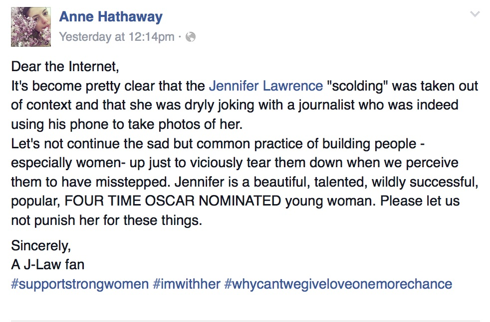 Anne Hathaway defends Jennifer Lawrence on Facebook