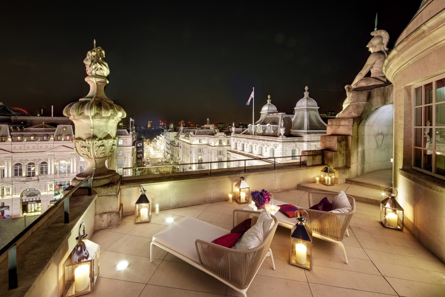 Hotel Cafe Royal London Dome Penthouse Terrace at Night