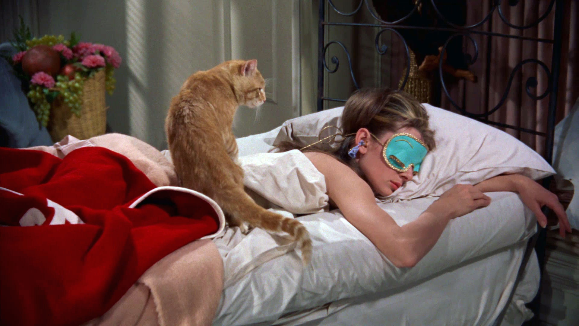 audrey hepburn sleeping eye mask cat