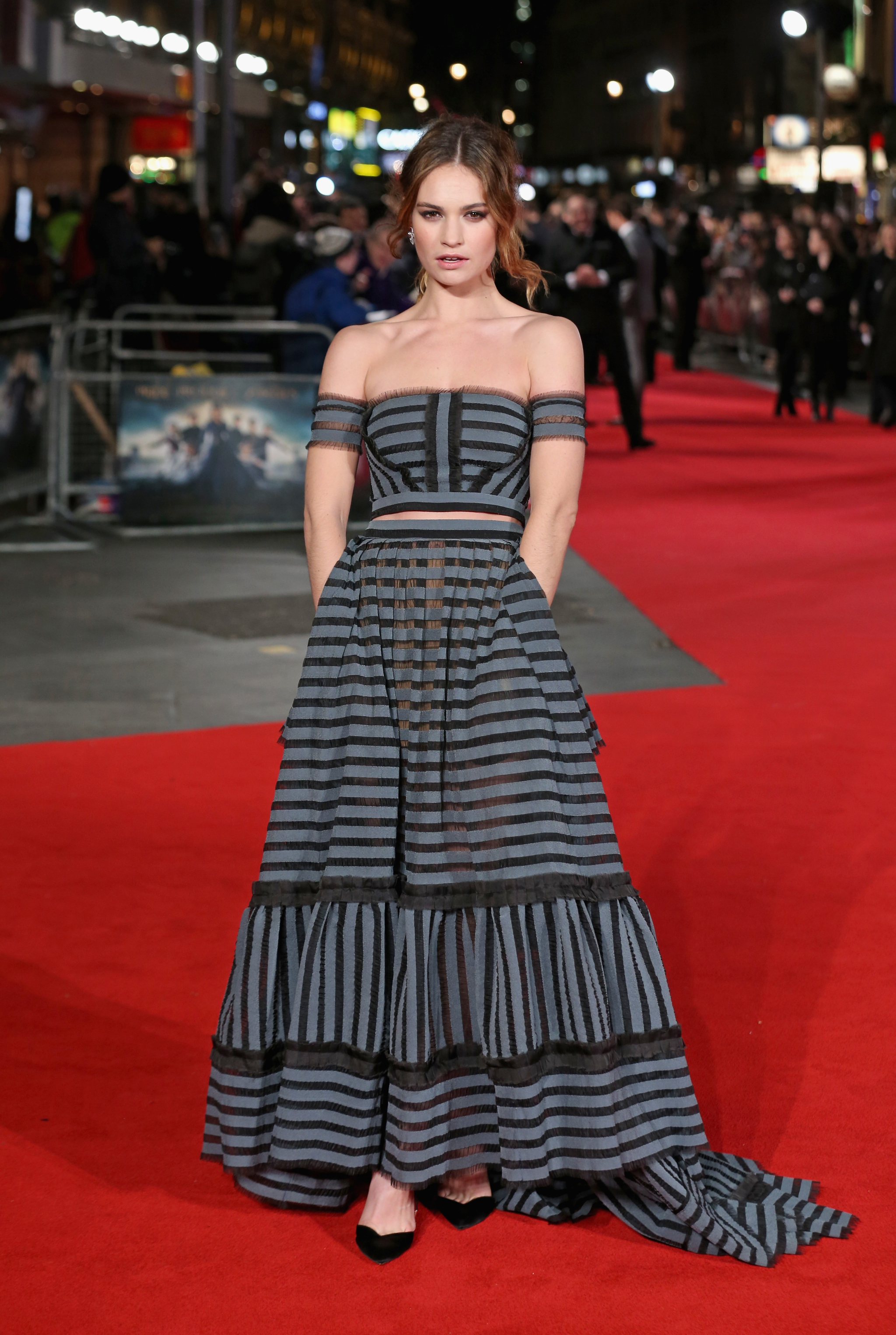 Lily James wearing Erdem at the Pride and Prejudice and Zombies premiere