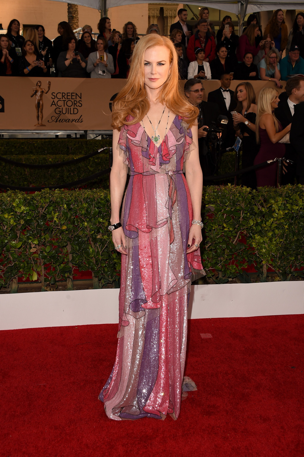 Nicole Kidman in a multi-color Gucci gown at the 2016 SAG Awards
