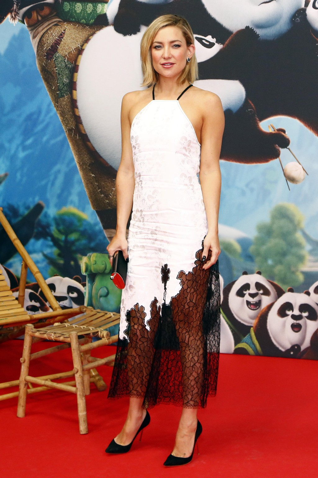 Kate Hudson in a black-and-white halter Wes Gordon dress at the Kung Fu Panda 3 premiere in Berlin.