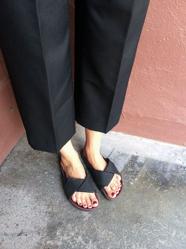 Cropped pants and sandals
