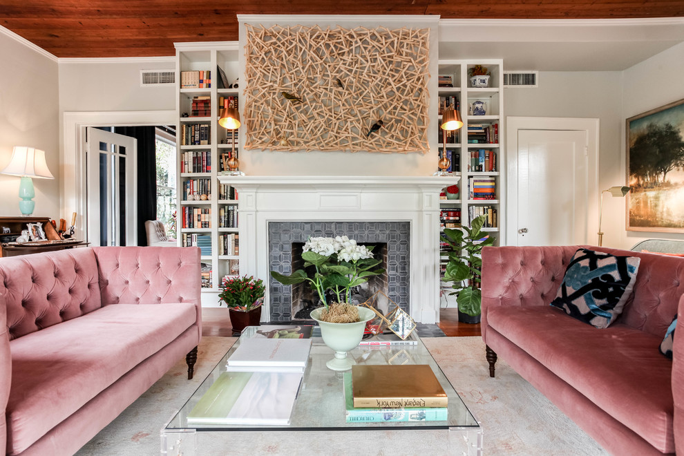 ireplace-and-bookshelf-ideas-living-room-transitional-with-glass-tables-pink-velvet-couch