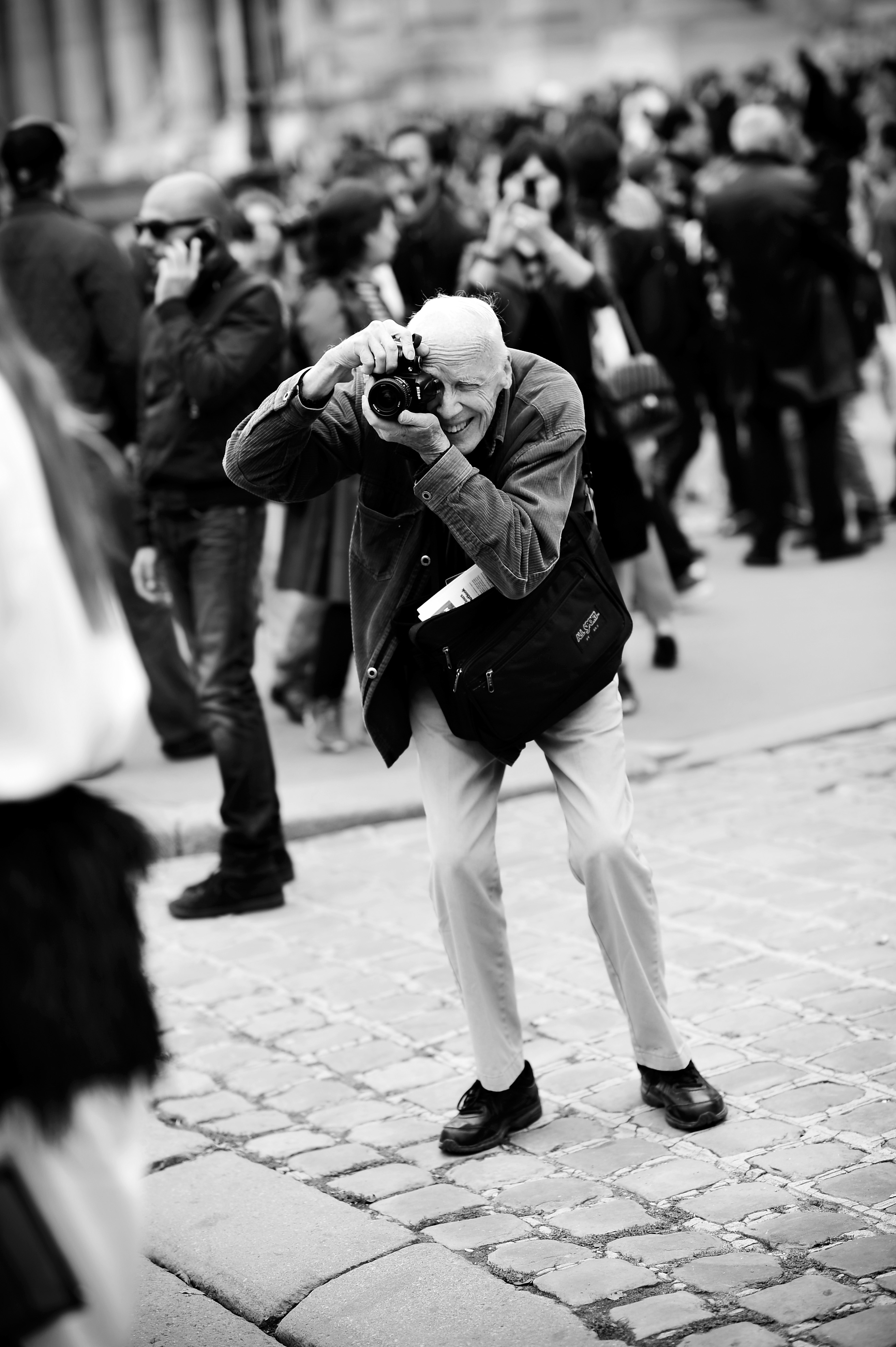 Photographer Bill Cunningham working during Paris Fashion Week Womenswear Spring/Summer 2014 on October 1, 2013 in Paris, France.