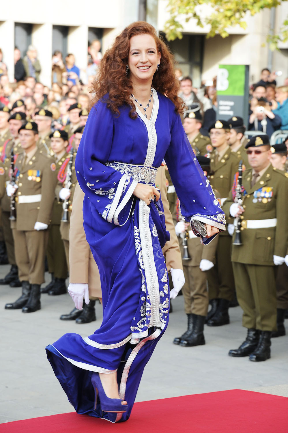 Princess Lalla Salma attends the wedding of Prince Guillaume Of Luxembourg.