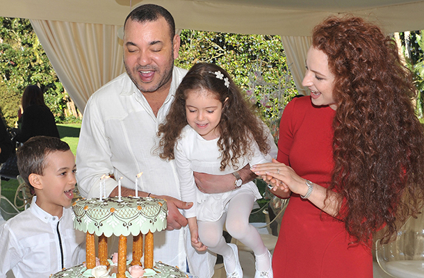 Princess Lalla Salma of Morocco with her children and husband