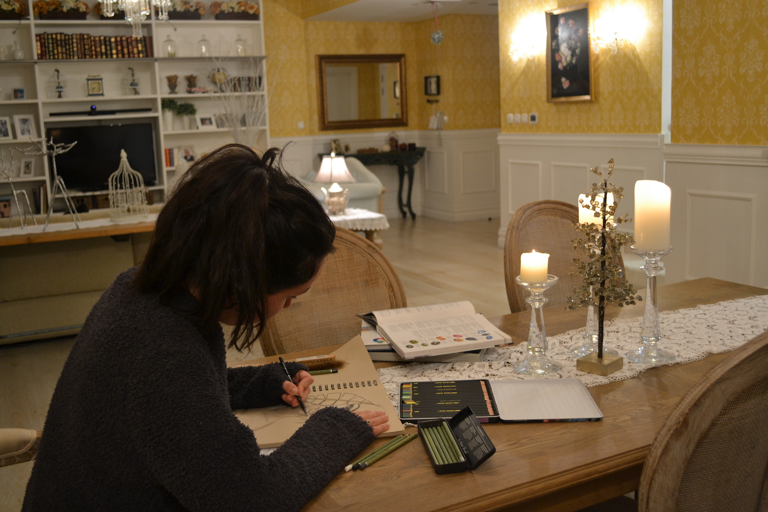 Donna Hourani Sketching at home