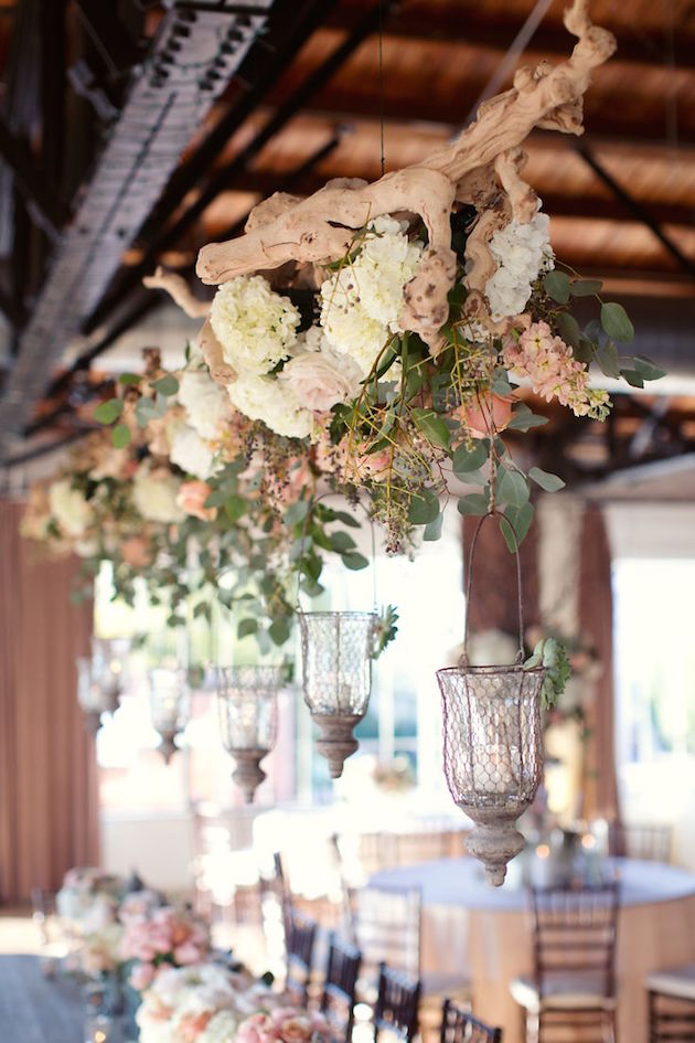 Flower Canopy wedding reception area close up