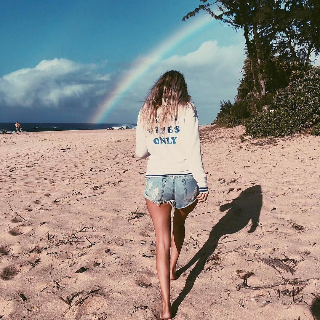 Good vibes only spiritual gangster beach rainbow