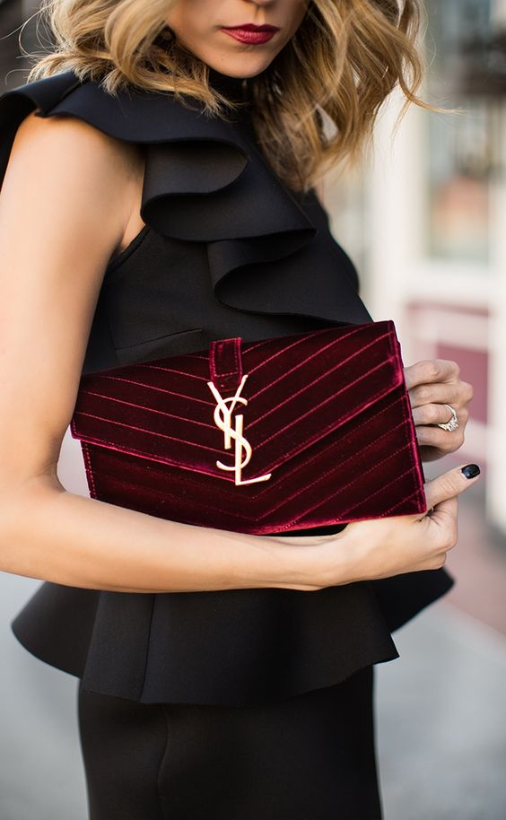 YSL burgundy velvet party evening clutch In Fashion
