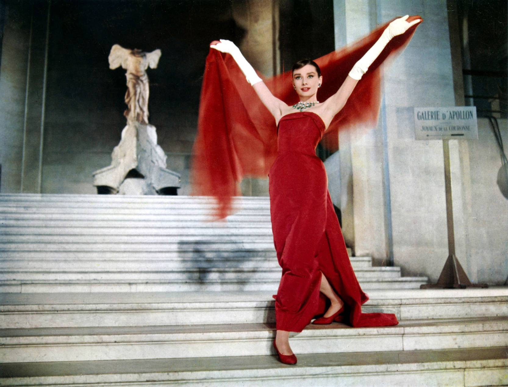 funny face scene audrey hepburn red dress