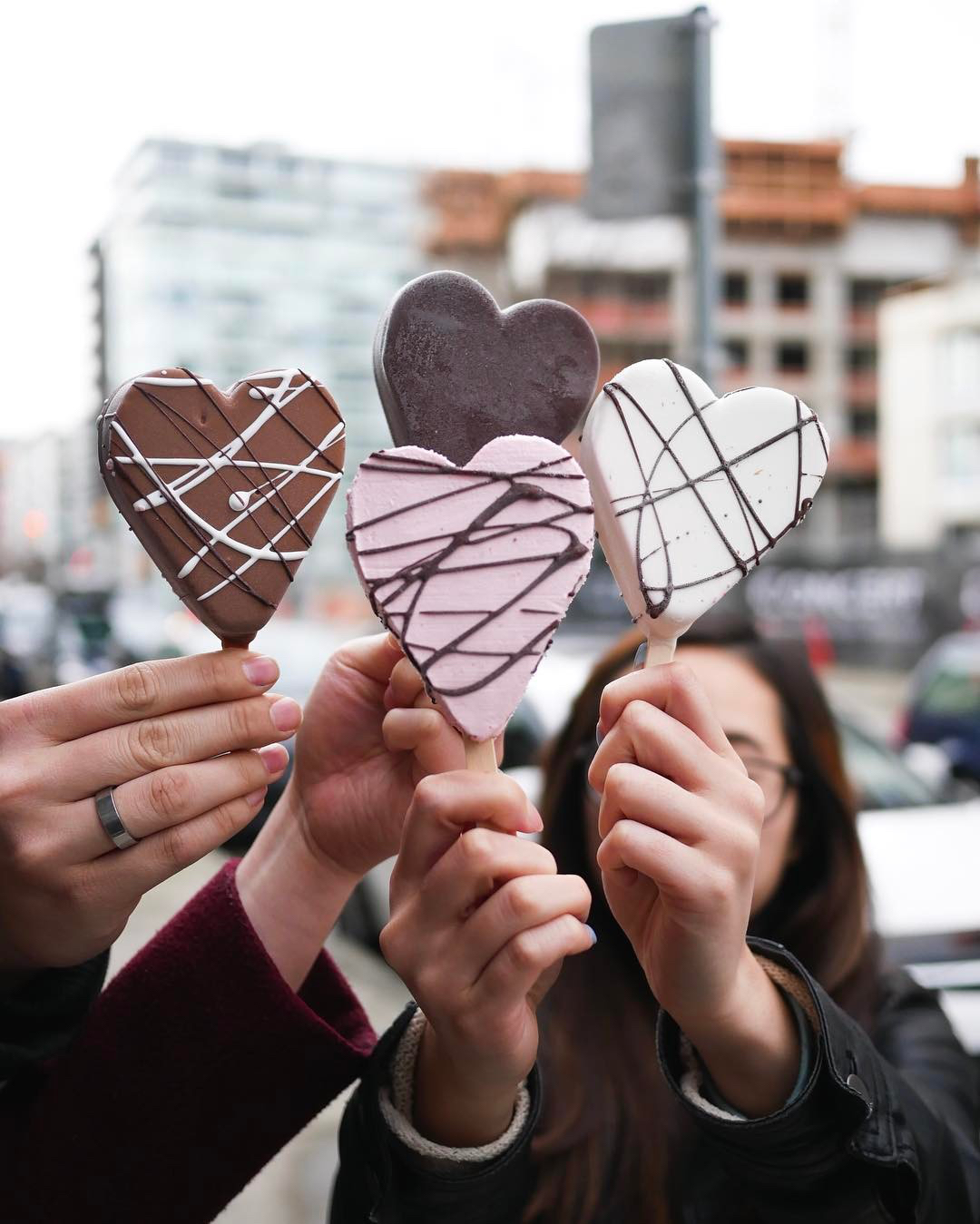 hands holding ice cream gelato hearts chocolate