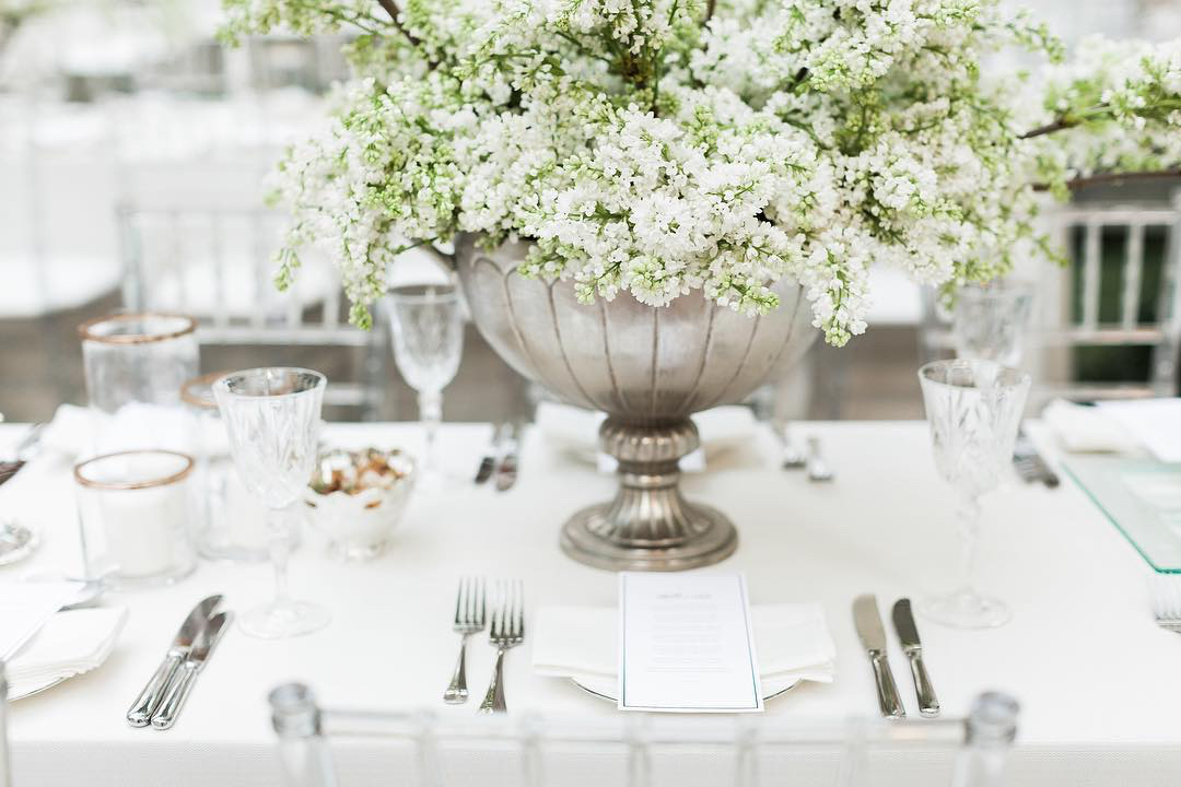 table floral arrangement white and green bliss flowers