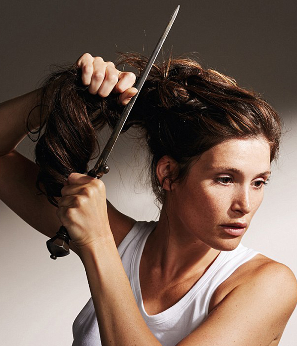 Gemma Arterton as saint joan cutting hair from daily mail
