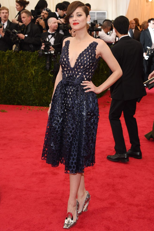 Marion Cotillard wore standout Dior Couture pumps to attend the 2014 Met Gala footwearnews