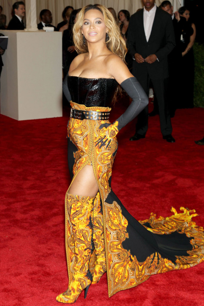 beyonce-met-gala-2013 Beyoncé's thigh-high split gave a great view of her Givenchy boots shutterstock