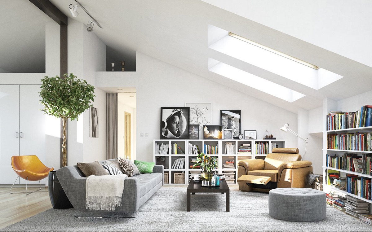 scandi home decor attic living room