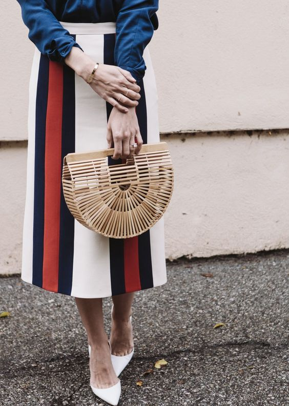 Cult Gaia bag and striped pencil skirt street style
