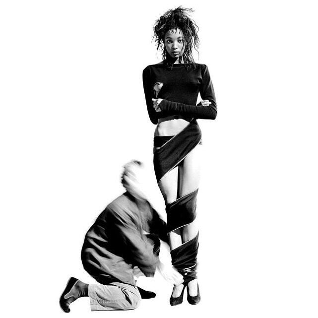 Naomi Campbell and Azzedine Alaia,photographed by Arthur Elgort 1987