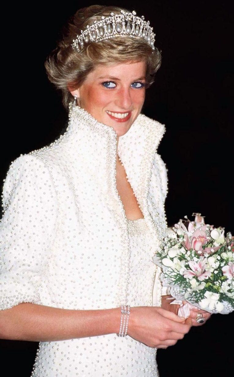 Princess Diana beaded white dress