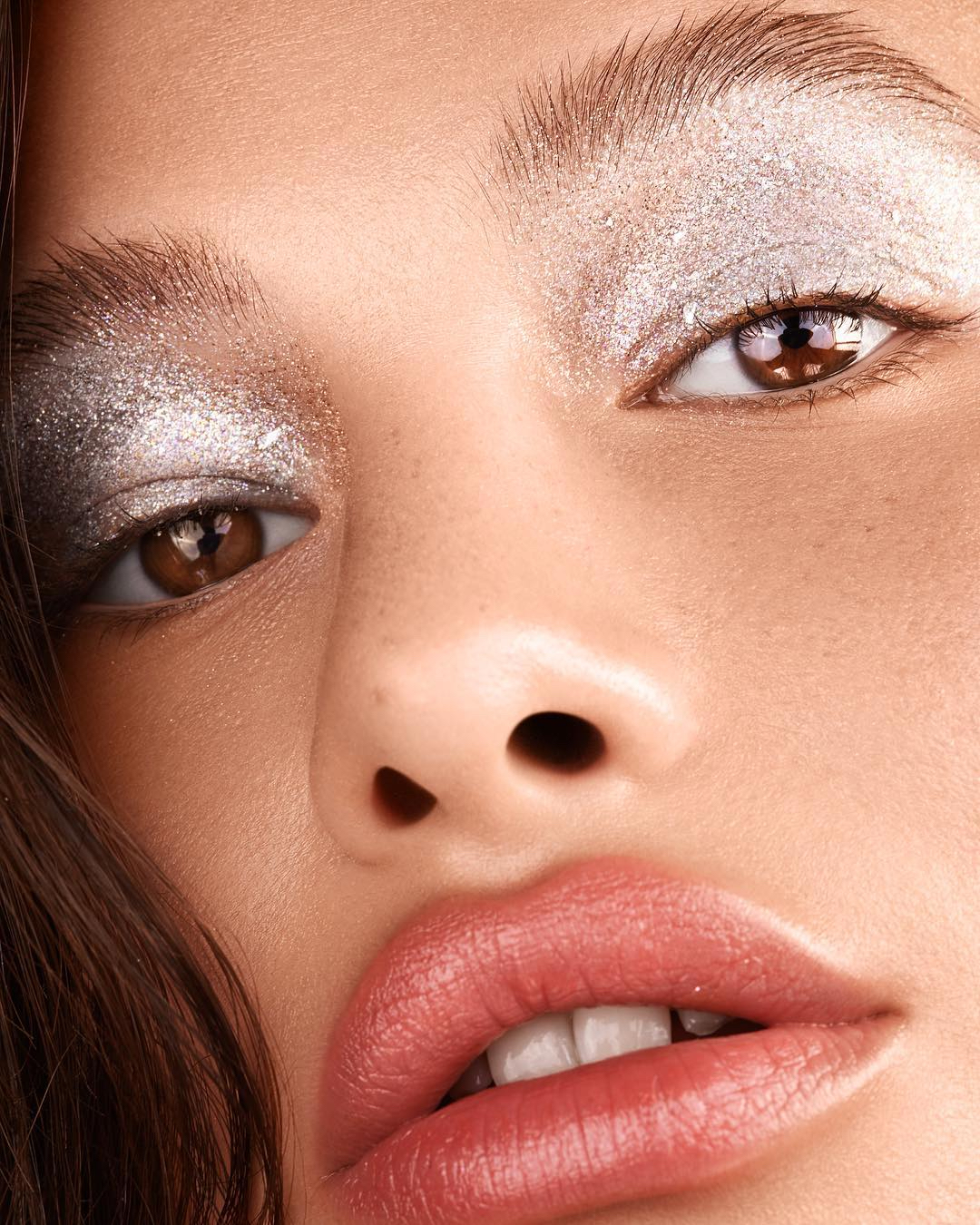 silver sparkly eye shadow beauty shot